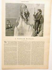 "Harper's Weekly Page ""A Narrow Margin"" Owen Hall Antarctic Seas Ice Bergs 1895"