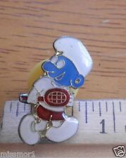 Smurf playing tennis 1980's pin vintage classic
