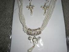 Perlen Strass Schmuckset Pappillon Tropfenperle Gold