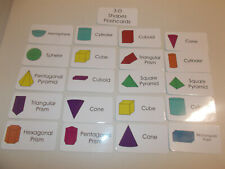 3D Shapes flash cards.  Preschool and Pre Kindergarten learning activity.  Geome