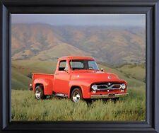 1955 Ford F-100 John Wagner Pick Up Truck Wall Decor Black Framed Art Picture