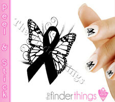 Melanoma Skin Cancer Awareness Butterfly Nail Decal Sticker BFY167