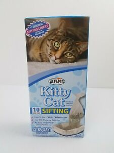 AlfaPet Kitty Cat Sifting Litter Box Liners Extra Giant 10 Count Cat Pan Liners