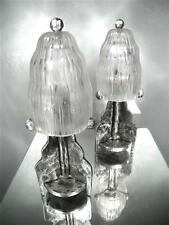 1920-30 SABINO PARIS PAIRE DE LAMPES FER FORGÉ VERRE PRESSÉ-MOULÉ ART DÉCO (1)