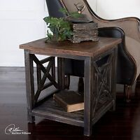 """SPIRO 20"""" ANTIQUED BLACK SOLID RECLAIMED WOOD ACCENT SIDE TABLE WORN FINISH"""