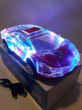 Mini Crystal Car Model Speaker Bluetooth Wireless Speakers FM Radio color Red