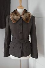 1930'S 40'S zara BROWN TWEED WOOL SUIT fur collar vintage WIDE TROUSERS uk 14 38