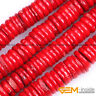 "Red Coral Gemstone Rondelle Spacer Disc Beads For Jewelry Making Strand 15"" YB"
