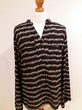Lovely Size UK 12 MARKS AND SPENCER dark Brown Print TOP Blouse J