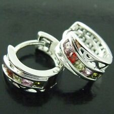 Cubic Zirconia Huggie White Gold Filled Fashion Earrings