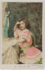 Antique 1907 Colored Postcard Little Girl Praying Pink Dress