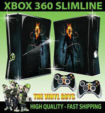 XBOX 360 SLIM STICKER GHOST RIDER JOHNNY BLAZE SKIN & 2 CONTROLLER PAD SKINS