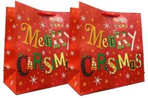 Set of 2 Midi Jumbo Christmas Gift Bags With Handle & Tag - Merry Christmas