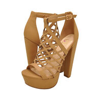 Women's Shoes Delicious EXIT-S Caged Platform Open Toe High Heel LIGHT TAN *New*