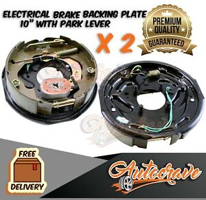 "2 x 10"" Trailer Drum Hub Electric Brake Backing Plate electrical Shoe Magnet set"