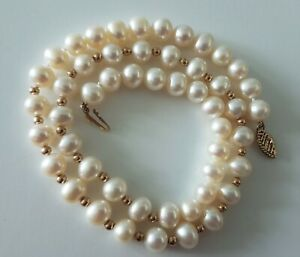 SOLID 9CT GOLD FRESHWATER PEARL NECKLACE WITH 9CT GOLD BEADS/RONDELS-Prouds