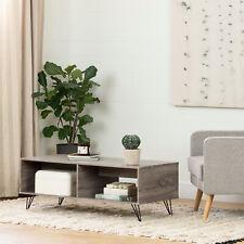 Modern Industrial Coffee Table Display Storage Shelves Wood Metal Furniture Oak