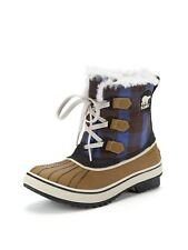 SOREL Winter Boots Tivoli Plaid Leather Rubber Waterproof Booties 5.5 Autumn
