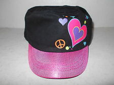 Girls Black/Pink with Hearts Cadet Hat - One Size - New with Tags