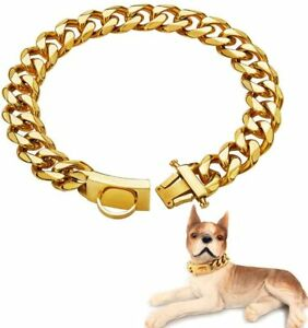 19mm Pet P Choke Heavy Steel Cuban Chain Dog Collar Safety Lock for Large Dogs
