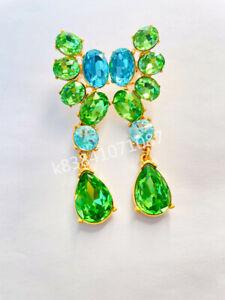 OSCAR DE LA RENTA Blue Zircon Crystal Statement Stud hang Earrings woman gift