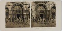 Italia Venezia Porta Centrale Da La Basilique San Marco, Foto Stereo Analogica