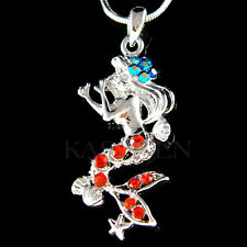 w Swarovski Crystal ~Hot Red Mermaid Sea Nymph Shell Starfish Charm Necklace New