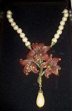 Heidi Daus Amaryllis Flower Simulated Pearl Swarovski Drop Necklace  New in Box