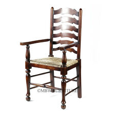 Solid Mahogany Sea Grass Ladder Back Occasional Arm Chair G-62-21