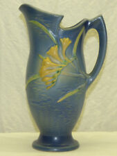 "Old Original Roseville Art Pottery Freesia Blue 10 1/2"" Tall Pitcher 20-10"