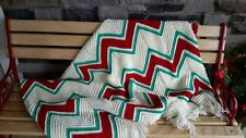 Handmade christmas chevron zigzag Afghan creamy white red and green