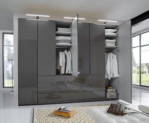 LUXURY GERMAN 2 3 4 5 6M DOOR WARDROBE BEDROOM FURNITURE GREY GLASS FITTED FREE