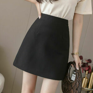 Womens High Waisted Pleated Bodycon Office Work Business Mini Skirt Short Lining