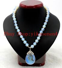 New 10mm Faceted White Moonstone Opal Gemstone Beads Pendants Necklace 18'' AAA