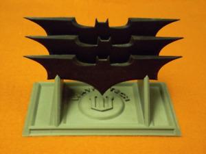3D Printed Batman Begins Batarang Set with Wayne Tech Display Stand