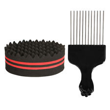 Hair Brush Sponge w/ Big Holes Metal Hair Pick Comb Double-sided Afro Comb S2E6