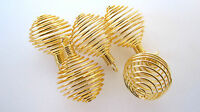 Five Coil Goldtone Spiral Cages 25mm DIY Jewelry Charm Pendant