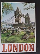 ORIGINAL 1960s LONDON ENGLAND TRAVEL POSTER  TOWER BRIDGE   VINTAGE 60s EUROPE
