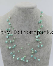 """9rows! freshwater pearl sky blue 5-8mm baroque necklace 16-19"""" wholesale"""