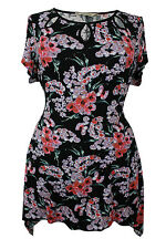 New Ladies Black Floral Print Tunic Top Plus Sizes 16 - 28