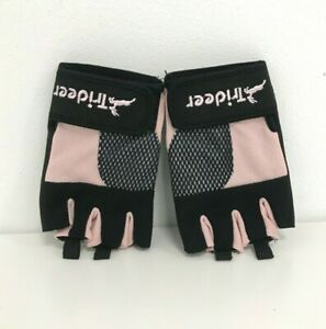 New Trideer Cycling Fingerless Gloves Size M Ladies Pink Black Grip Pads 431036