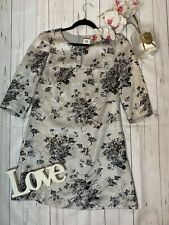 Noa Noa Size S 10 12 silver sparkly long sleeve floral shift party dress VGC