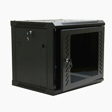 9U Wall Mount Network Server Data Cabinet Enclosure Rack Glass Door Lock w/ Fan