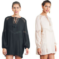 UMGEE Womens Boho Bohemian Vintage Chic Crepe Crochet Long Sleeve Dress S M L