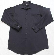 Van Heusen Dress Shirt Black 17 37/38 Lux Sateen Pocket Men's Long Sleeve 1-25