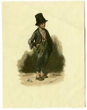 Jeune mendigot - Dessin ancien plume, encre et aquarelle - Signature illisible
