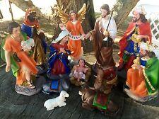 "8"" Christmas Nativity Scene Set Figures Resin Figurines Baby Jesus-12PC Holy"