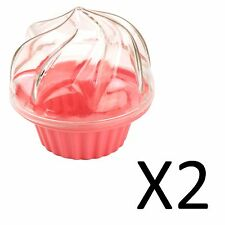 Fox Run Single Cupcake Carrier Muffin Lunch Box Pink Durable Plastic (2-Pack)