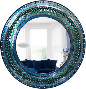 """Handcrafted 24"""" Round Wall Mirror of Periwinkle & Royal Blue Mosaic Frame"""