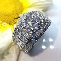 Real 10K White Gold 3.00 Ct Round Diamond Cluster Engagement Ring For Women's